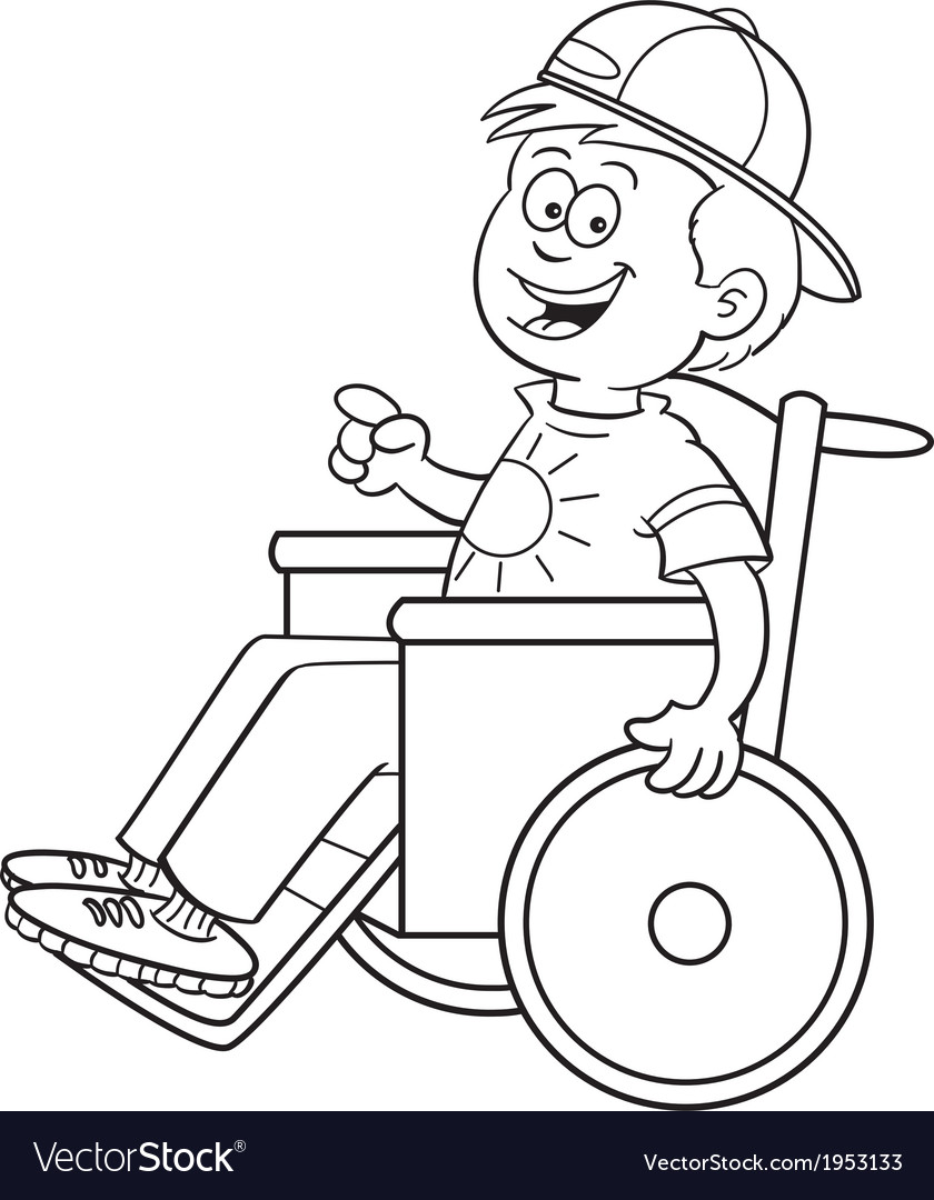 Cartoon Boy in a Wheelchair