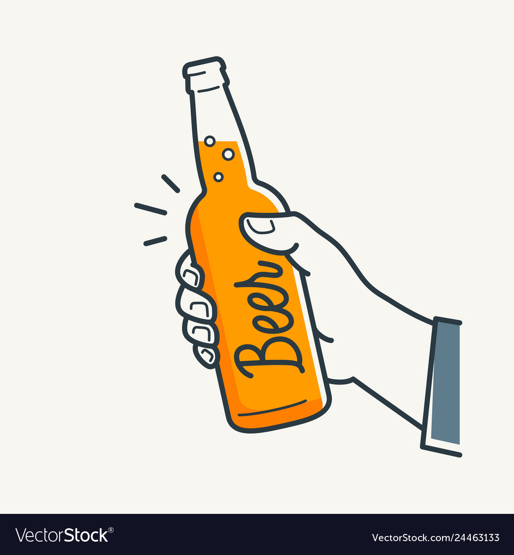 Hand hold beer bottle male hand holding a beer