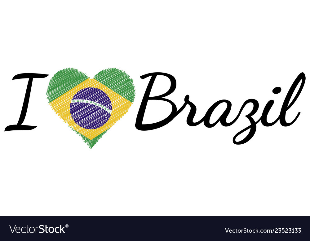 I love country brazil text heart doodle