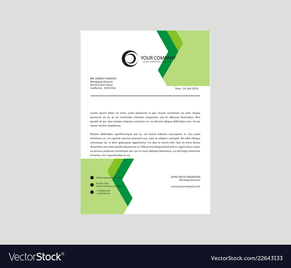43b14111068 Letterhead design template Royalty Free Vector Image
