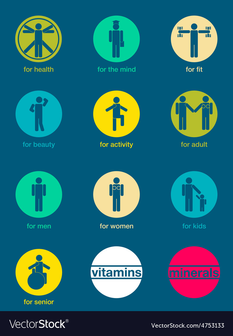 Set of icons vitamins and minerals