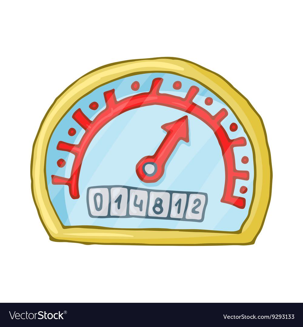 Speedometer and odometer icon cartoon style
