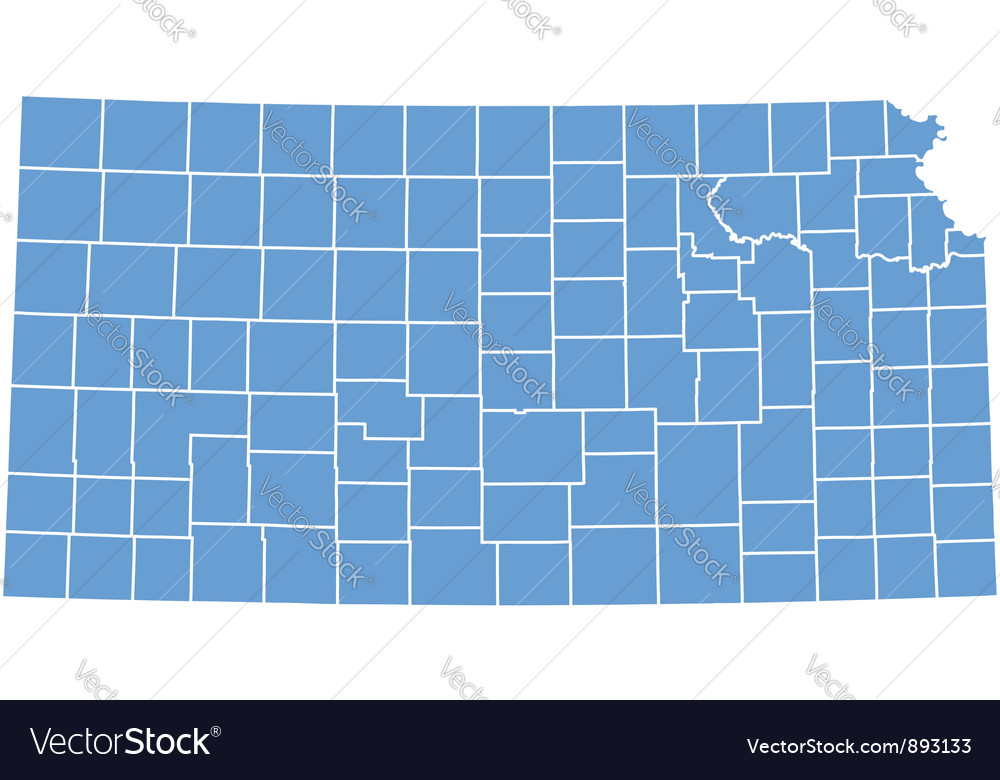 State Map Of Kansas By Counties Royalty Free Vector Image
