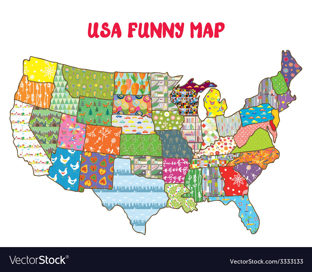 United States funny map with patterns Royalty Free Vector