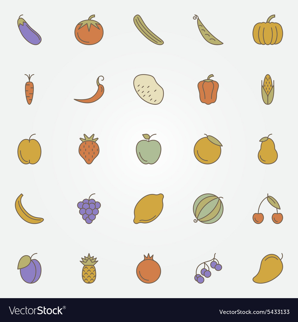 Vegetables and fruits flat icons