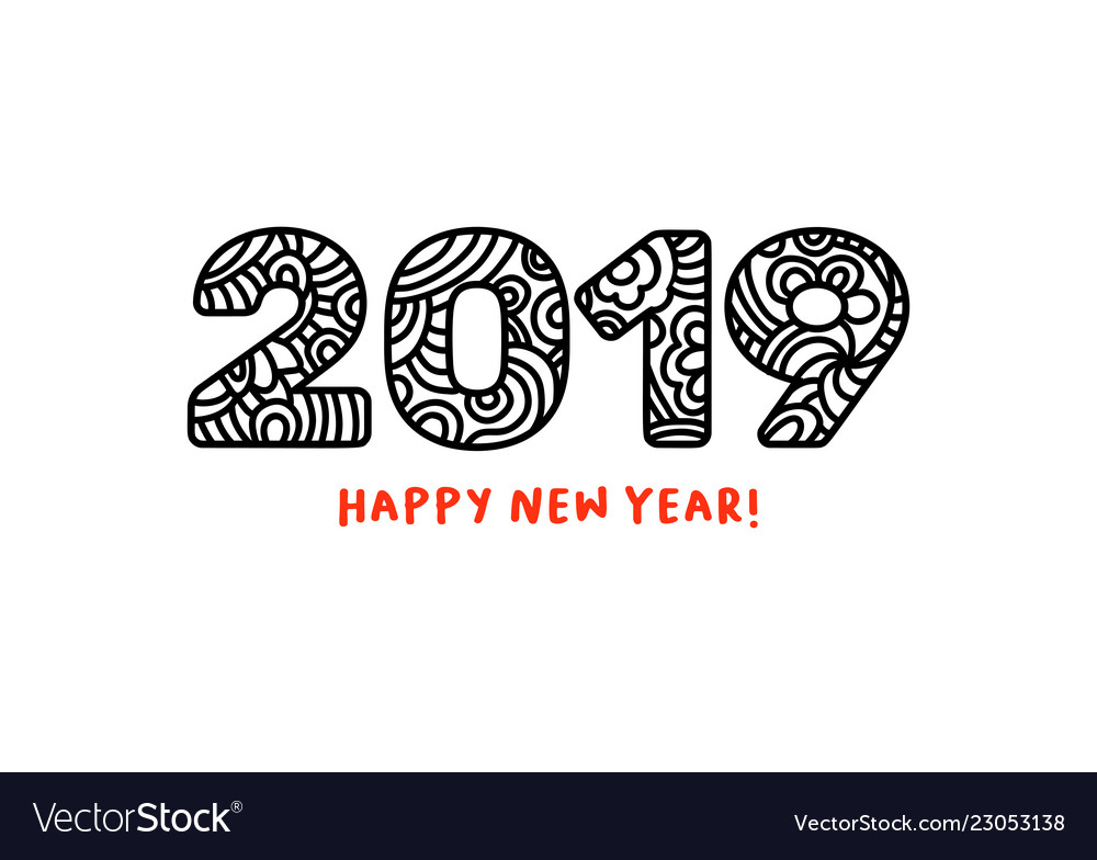 2019 lettering happy new year greeting or for