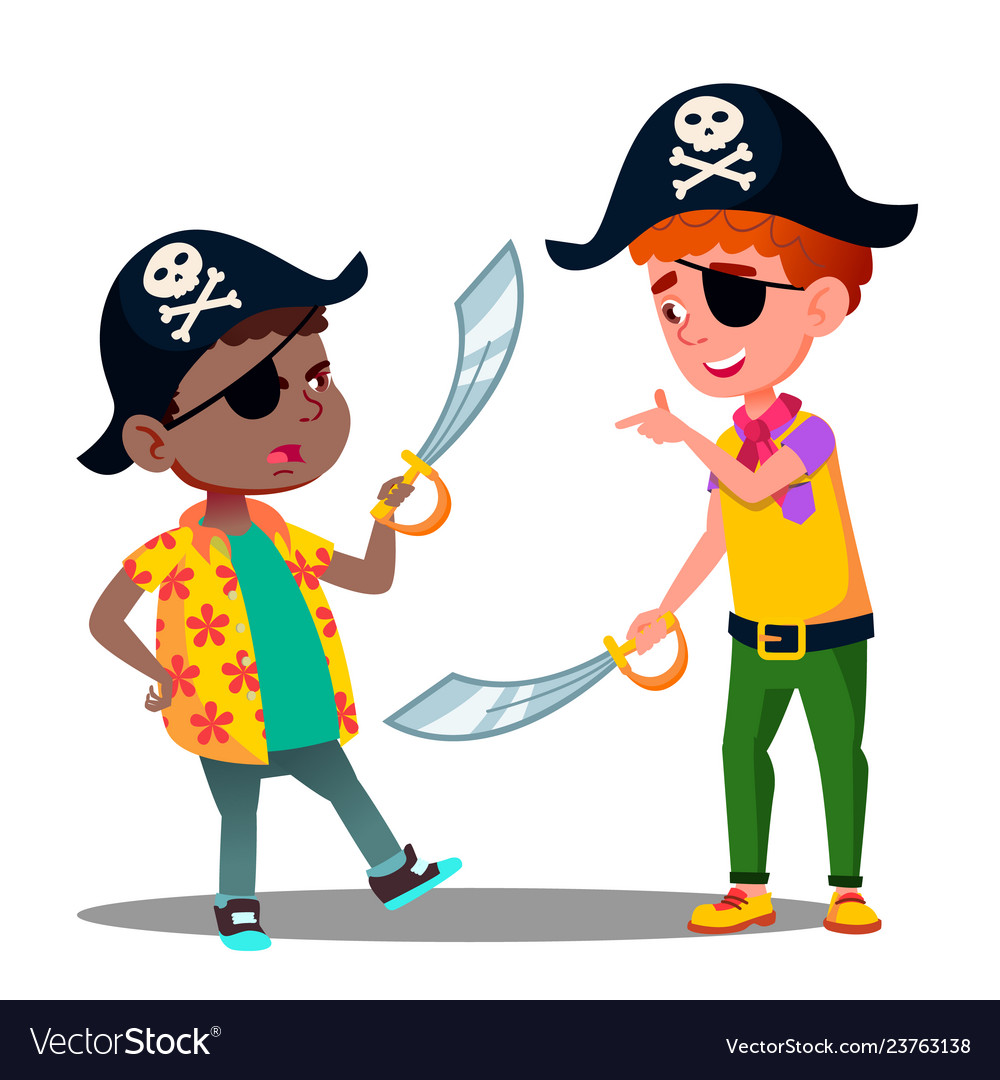 African and white kids play pirates and fighting