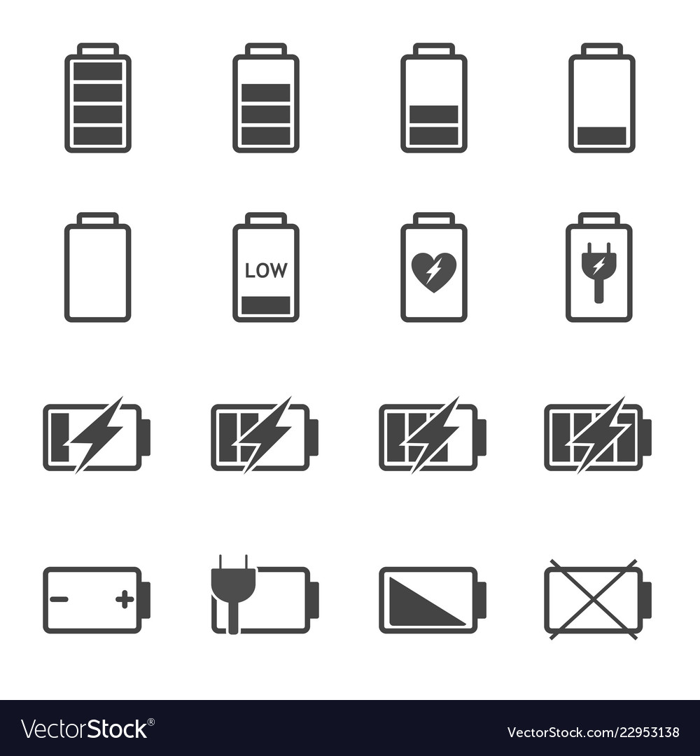 Battery icon set power and fuel concept