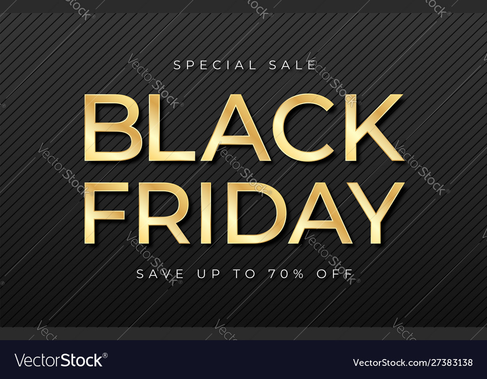 Black friday sale banner shiny golden text on