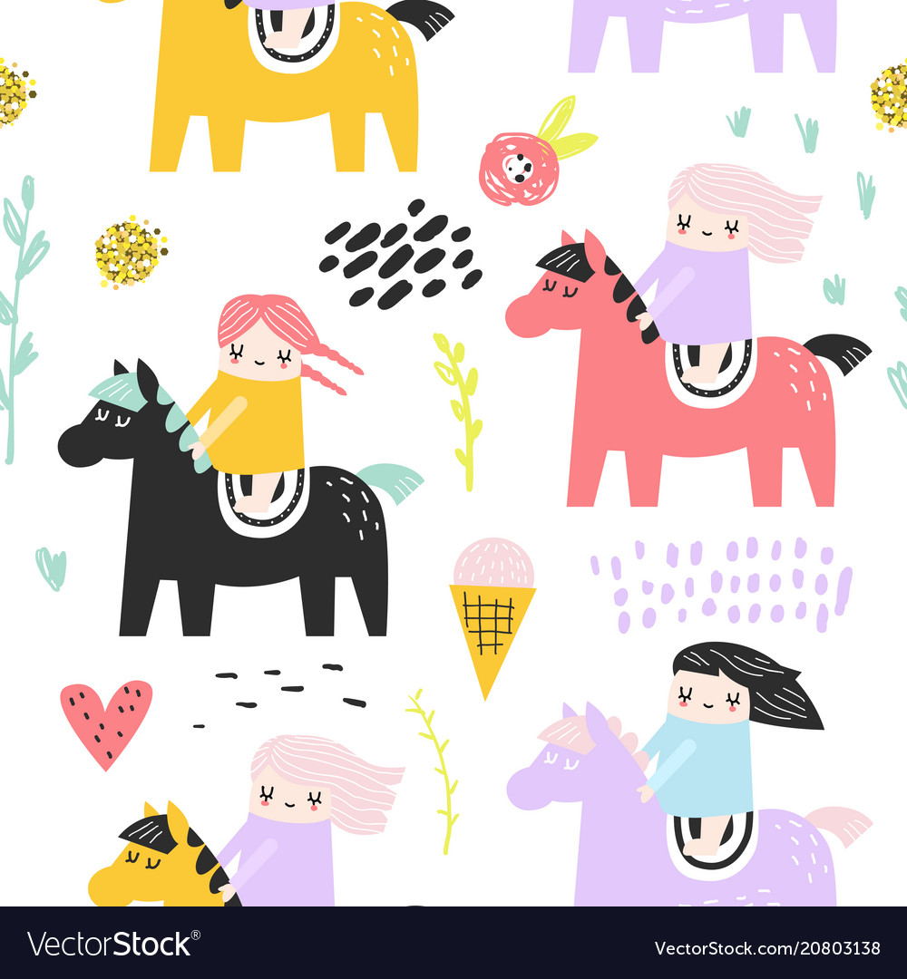Childish seamless pattern with cute girls and pony