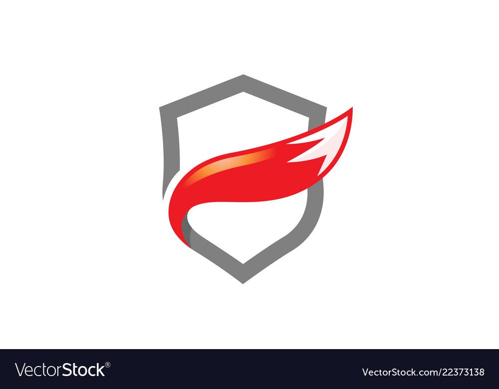 Creative abstract fox tail shield protection logo