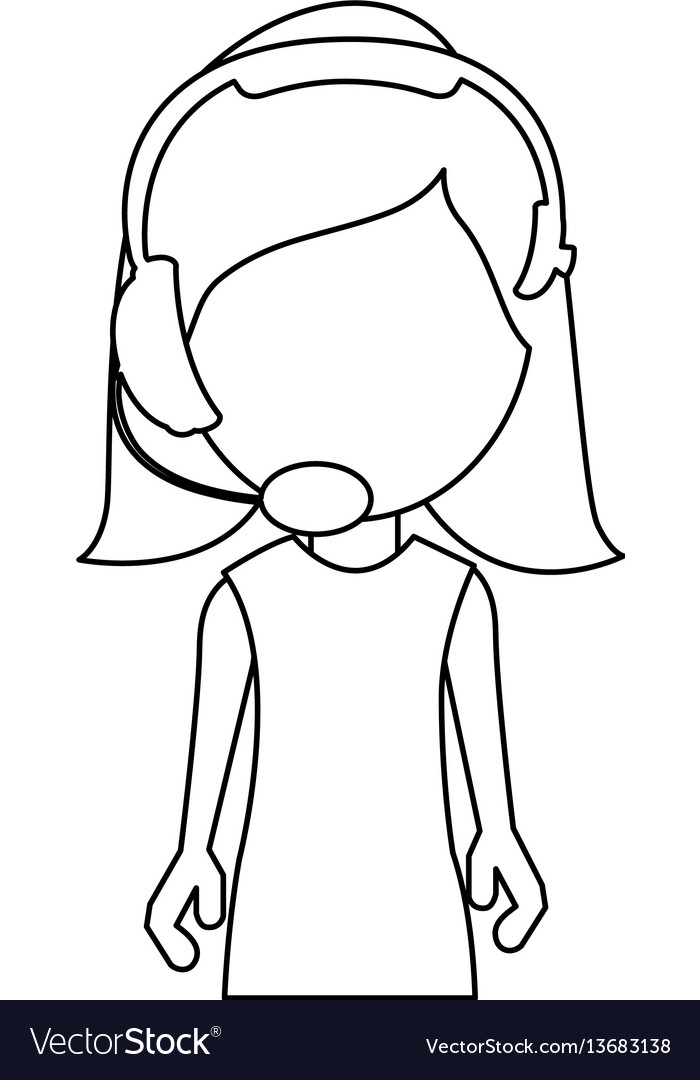 Monochrome contour with half body woman of call vector image
