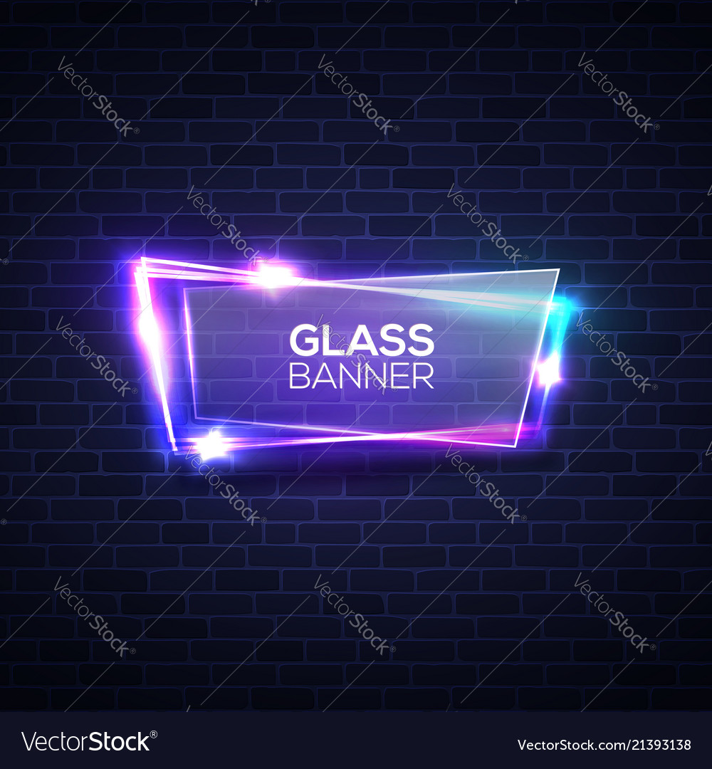 Neon lights sign with glass plate on brick wall