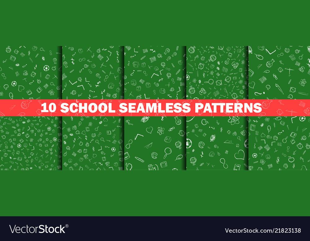 School pattern on green chalkboard background
