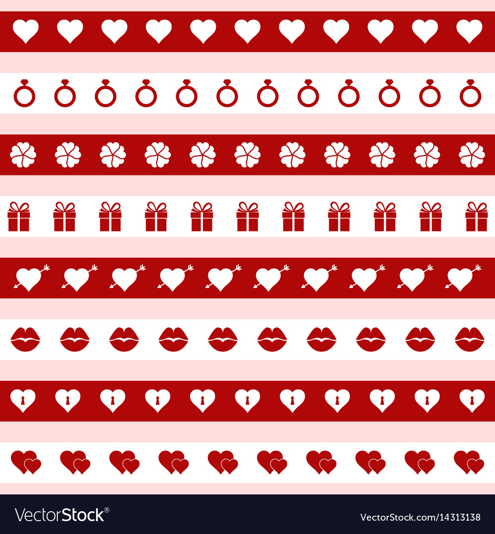 Set red and white valentines day icons