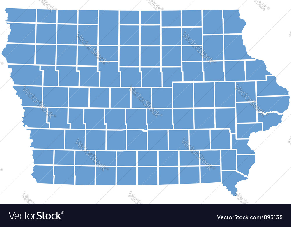 State Of Iowa Map With Counties.State Map Of Iowa By Counties Royalty Free Vector Image