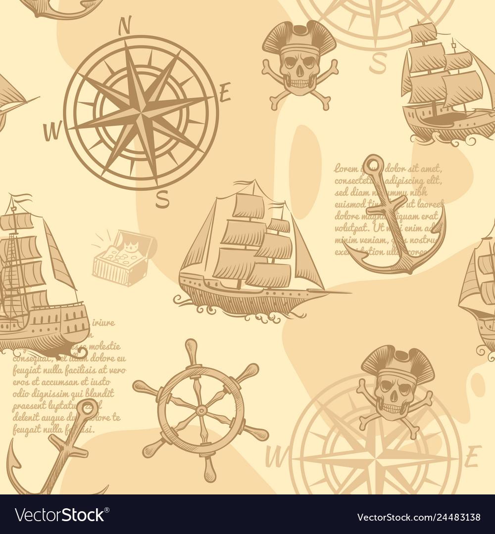 Vintage nautical seamless pattern hand drawing