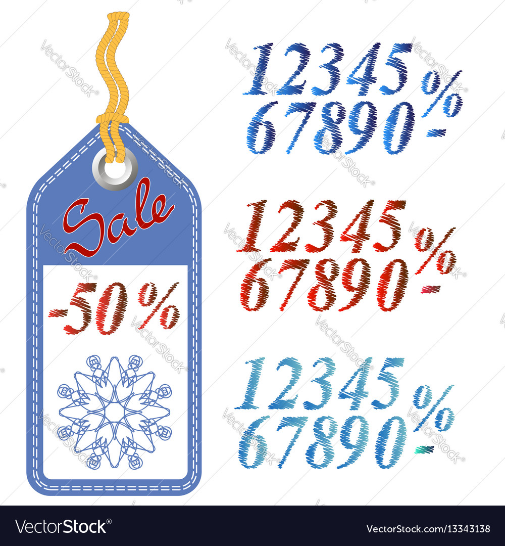 Winter sale sticker with rope