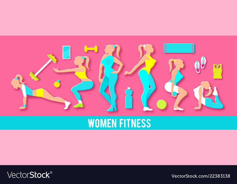 Workout fitness girl set 3d paper art heathy