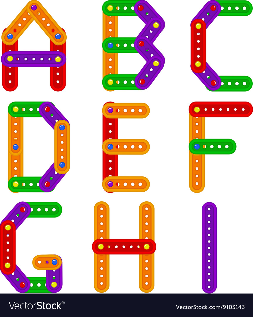 Alphabet from constructor from A to I