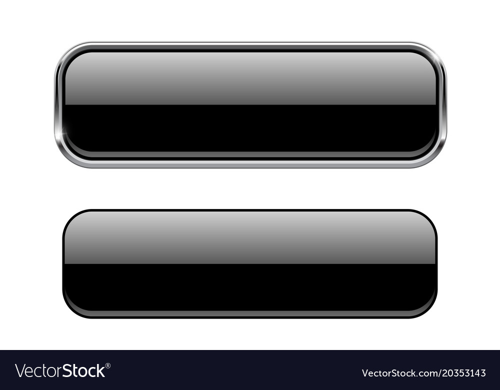 33c9a43917e Black glass buttons with and without metal frame Vector Image
