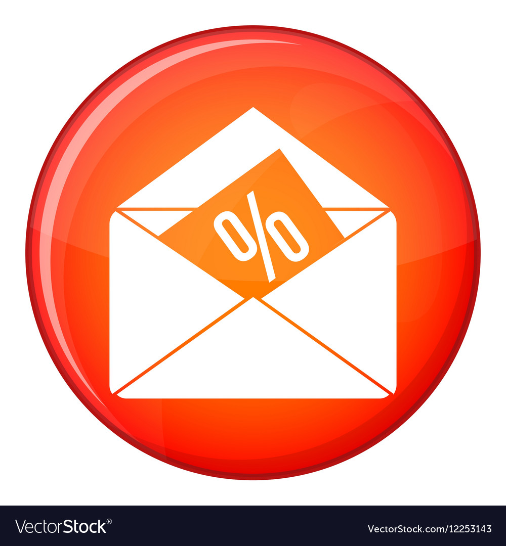 Envelope with percentage icon flat style vector image