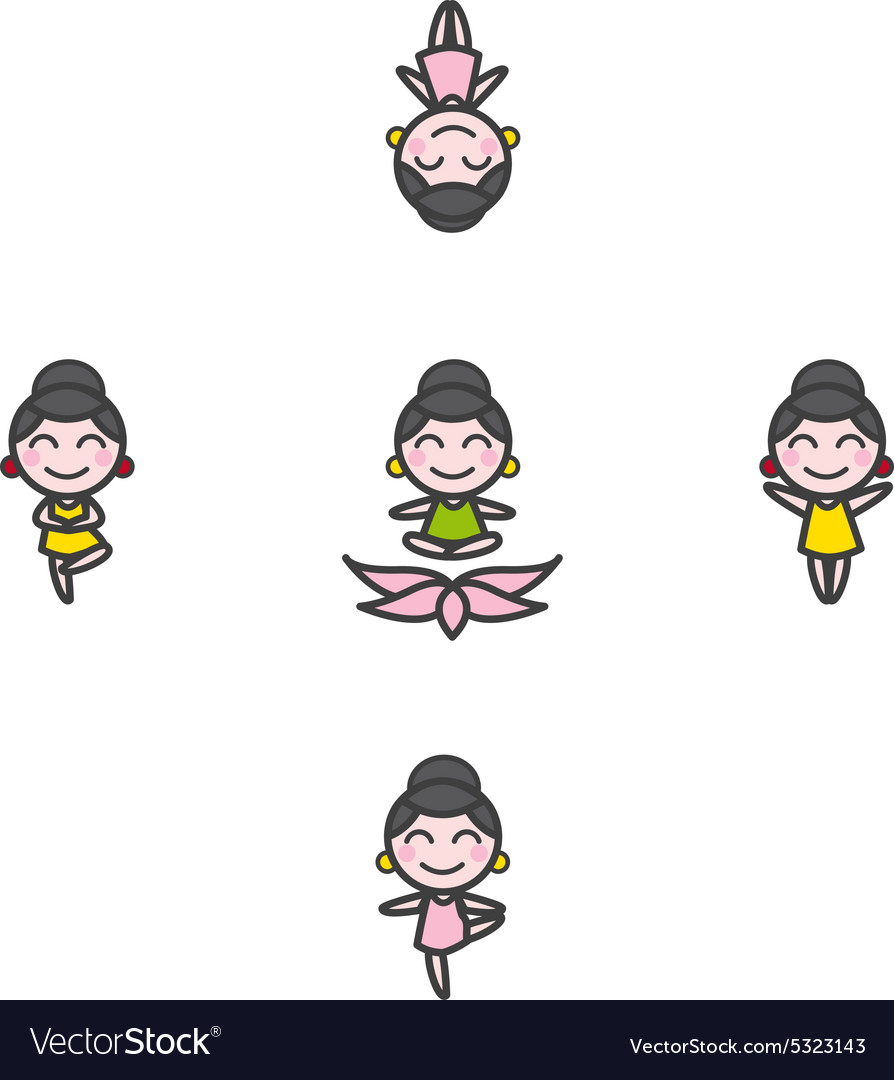 Funny Cartoon Girl Mascot In Five Yoga Royalty Free Vector