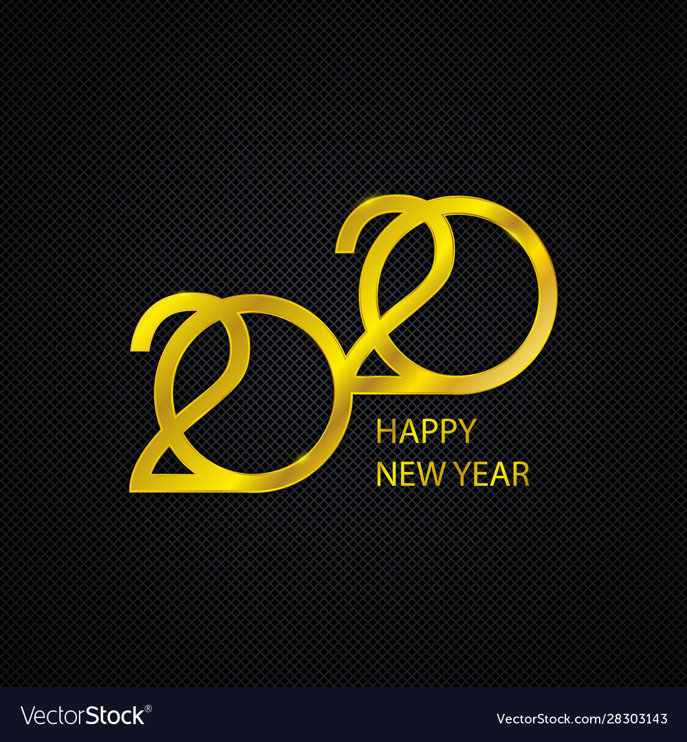Golden 2020 new year logo holiday greeting card