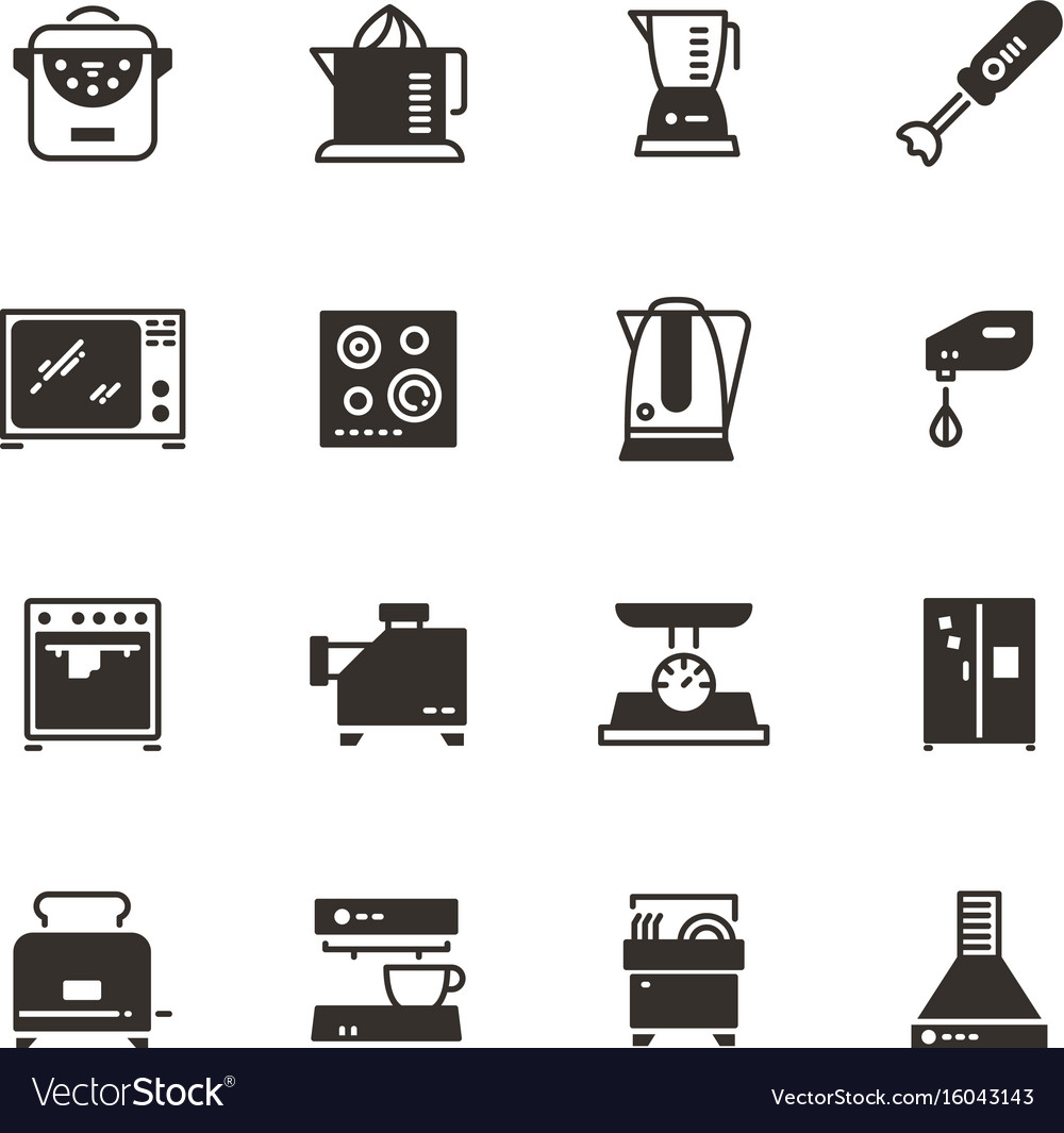 Kitchen Appliances Silhouette Icons