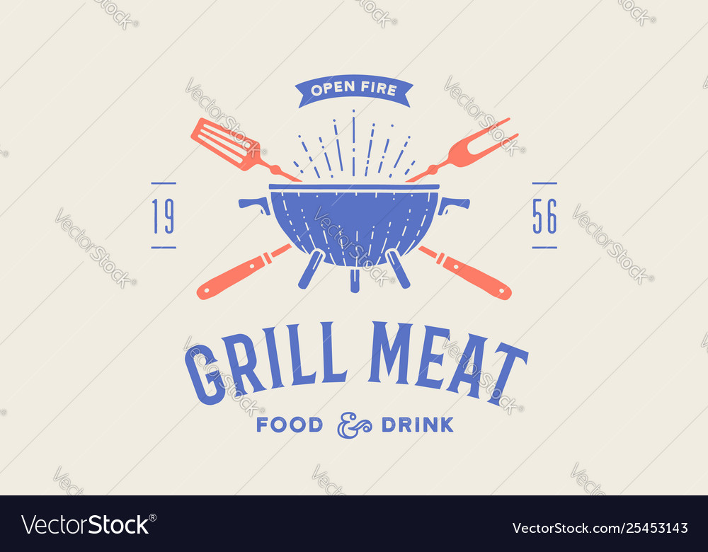 Label or logo for restaurant logo with grill bbq