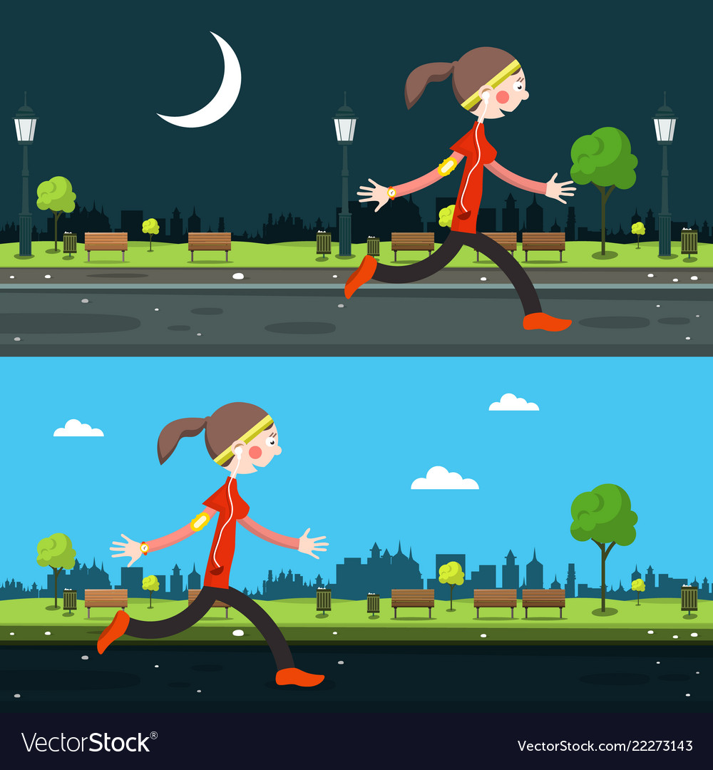 Night and day run in city running woman