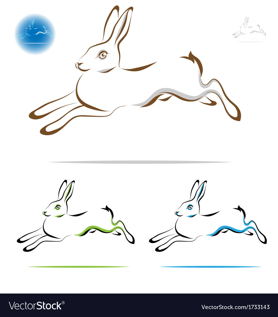 Running rabbit outline vector image