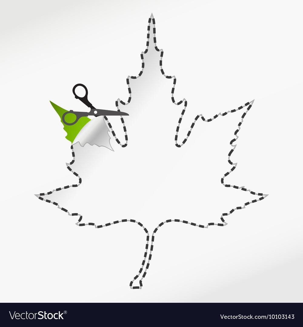 Scissors cut sticker autumn leaf