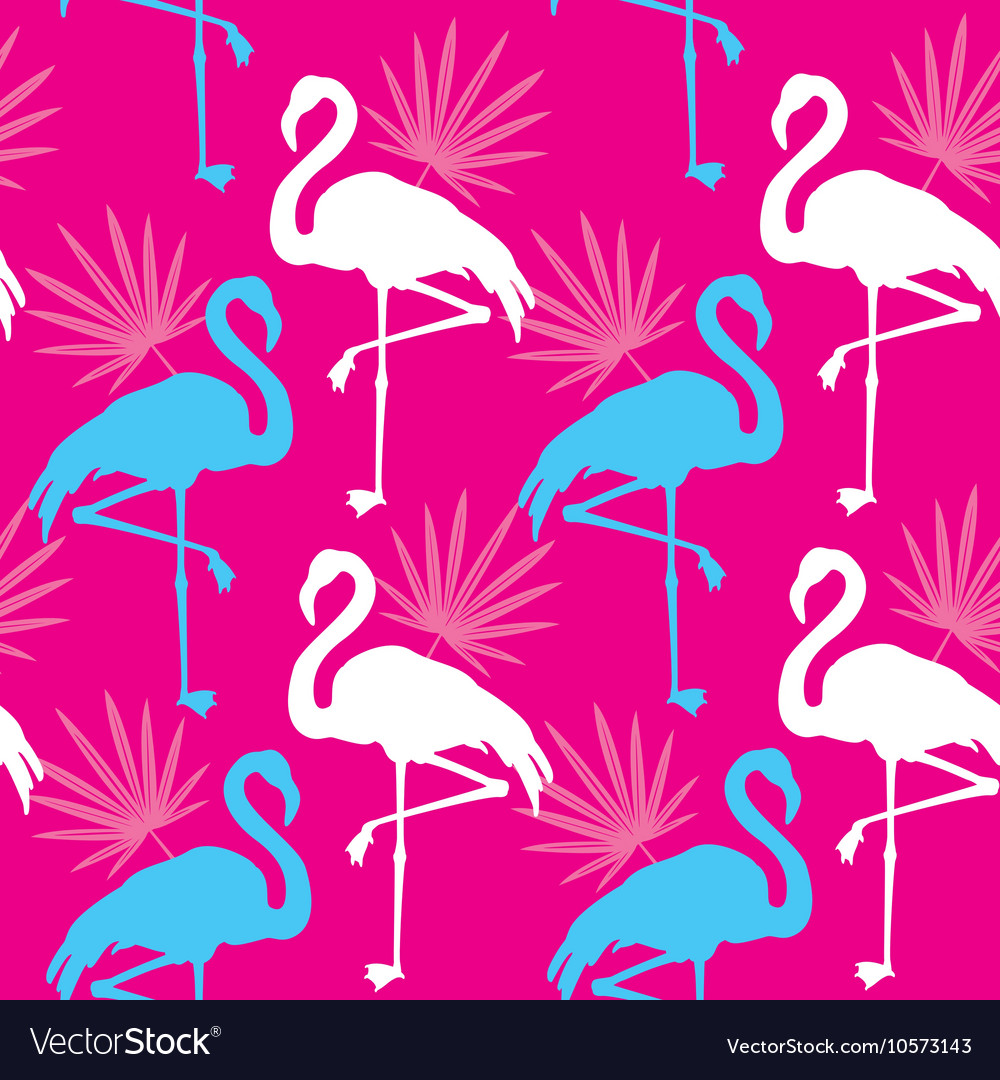 Seamless pink pattern with flamingo