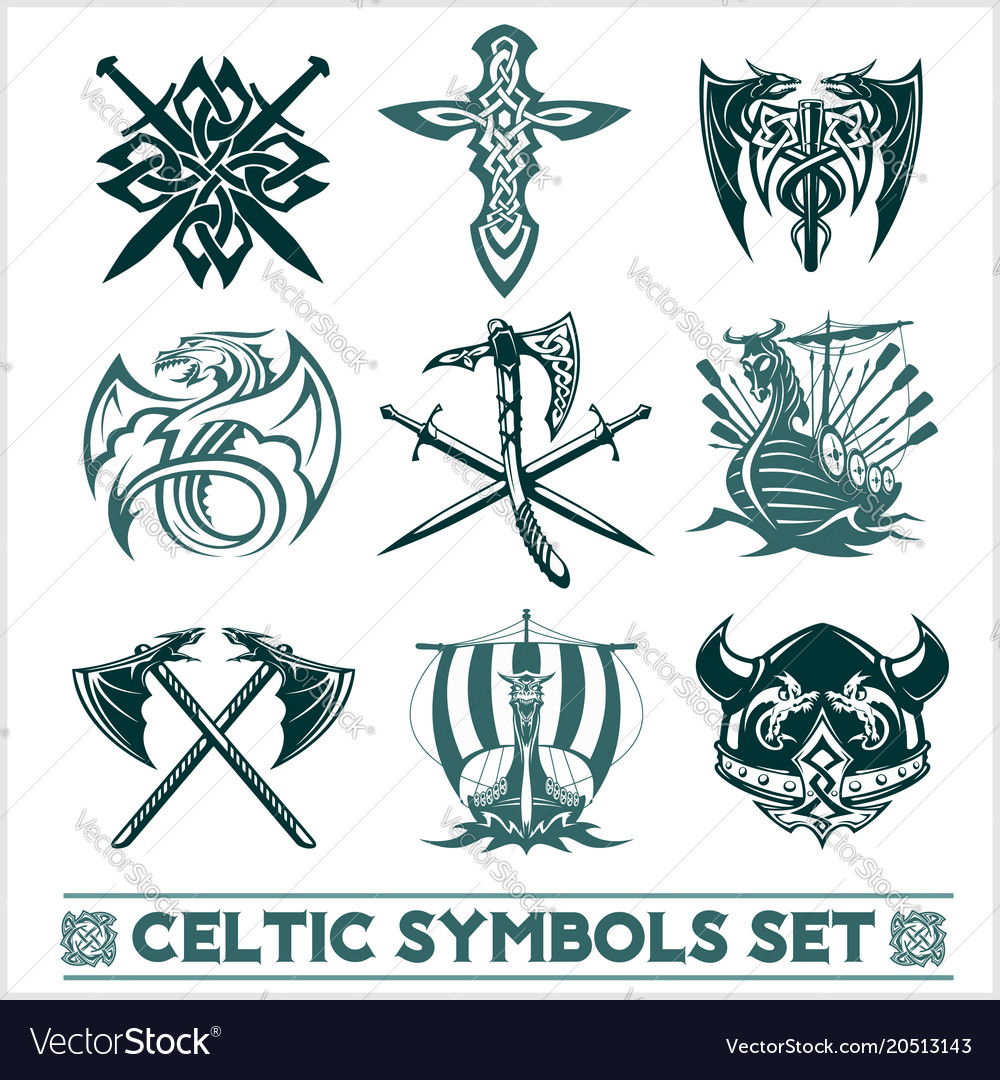 Set Of Celtic Symbols Icons Royalty Free Vector Image