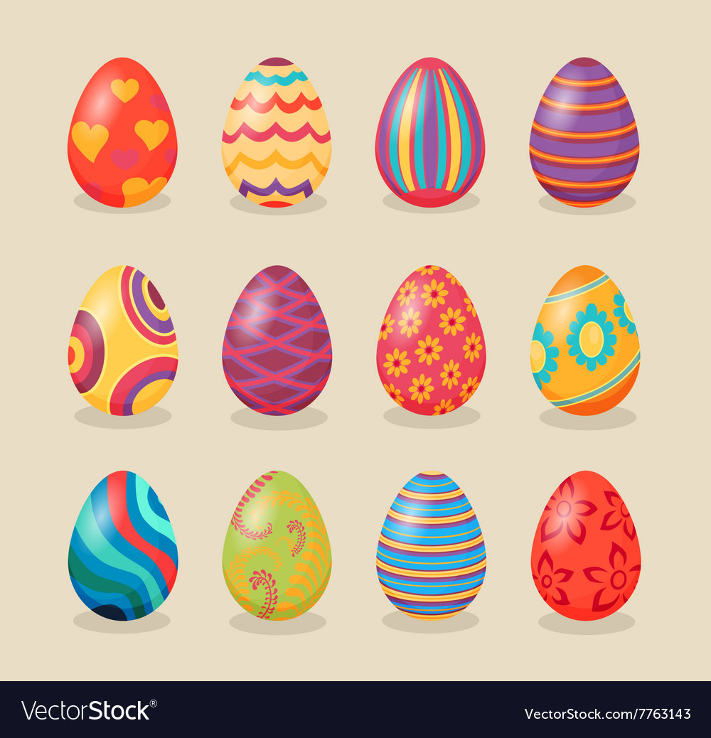 Set of Easter Eggs Design Flat