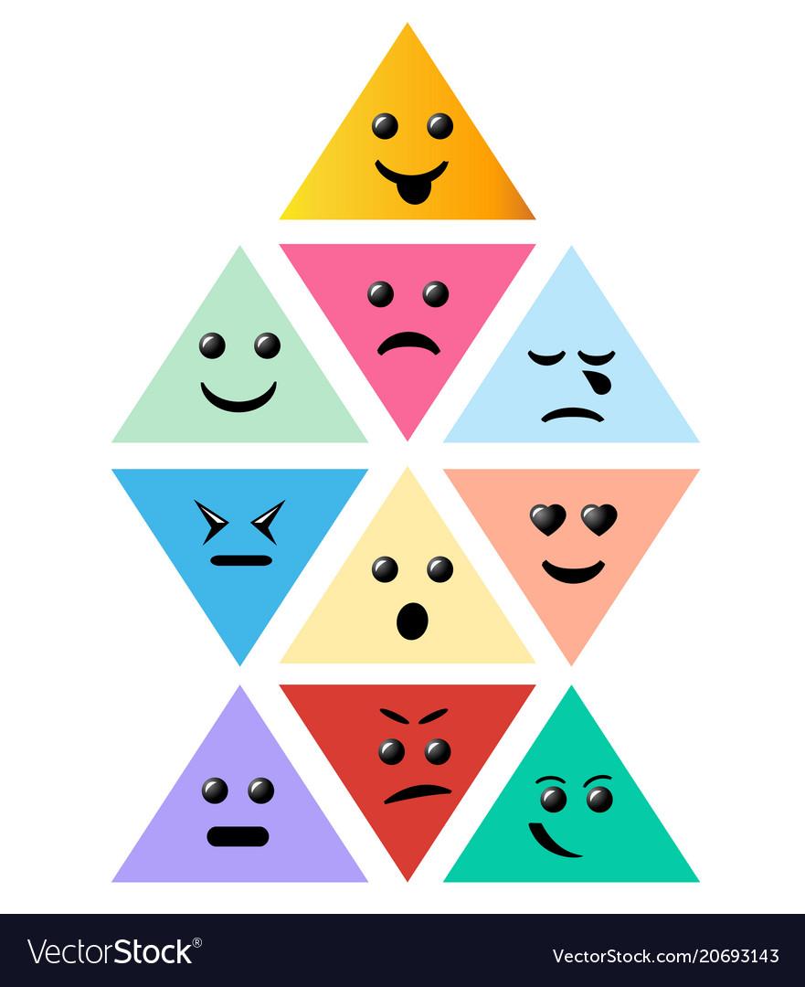 Set smiley pyramid icon creative cartoon style
