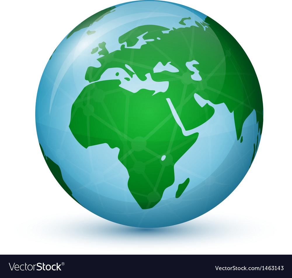 World Globe Map   Africa Europe Royalty Free Vector Image