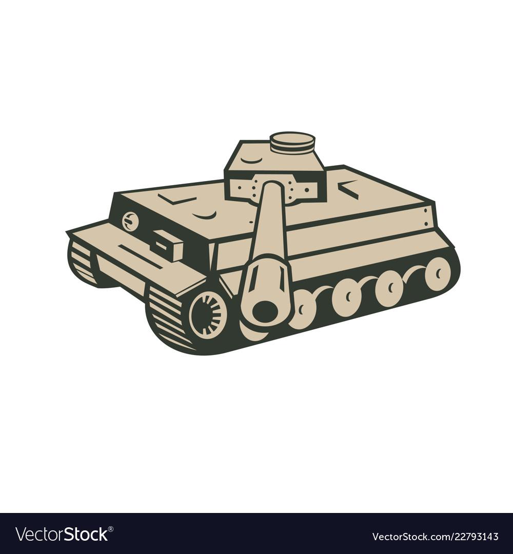 World war two german panzer tank aiming