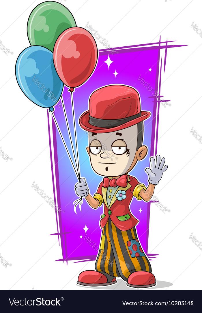 Cartoon standing clown with balloons