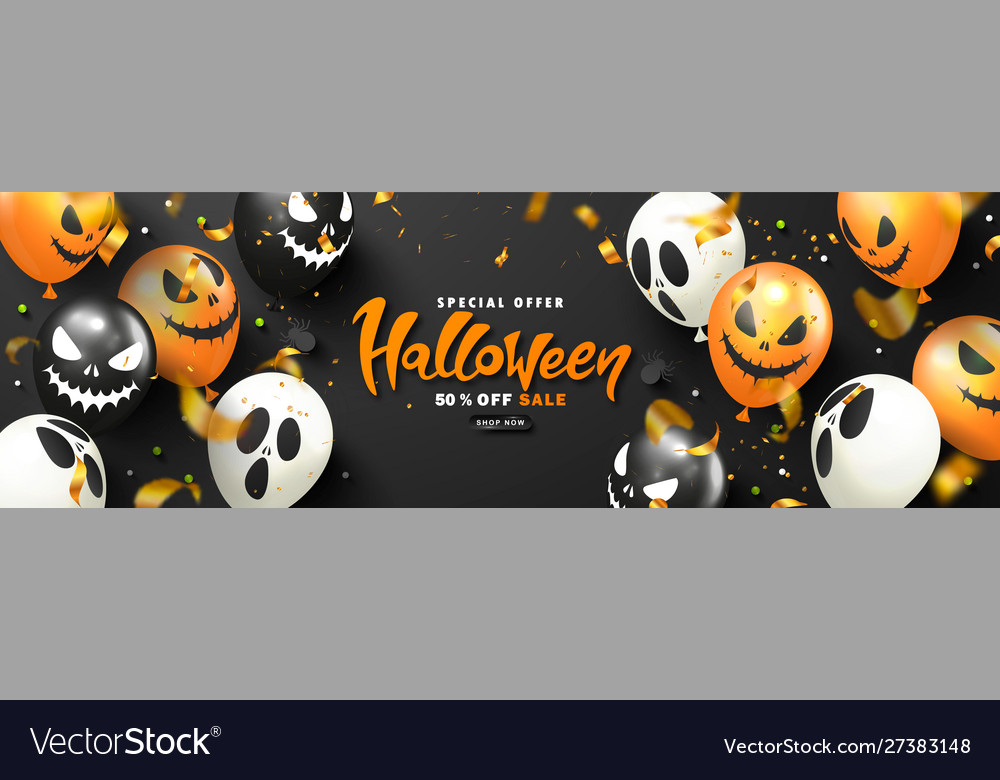 Halloween sale promotion poster with scary