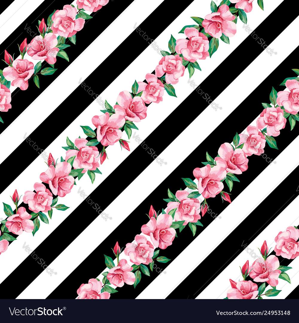Rose seamless pattern black white stripe