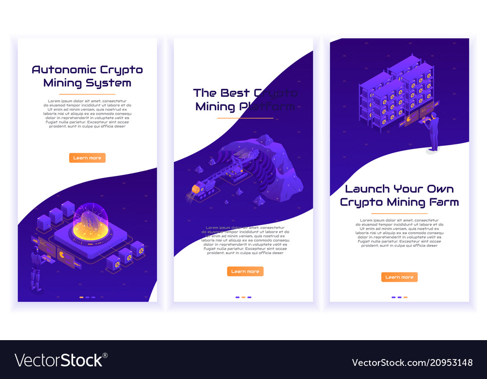 Set of isometric crypto mining concept banners