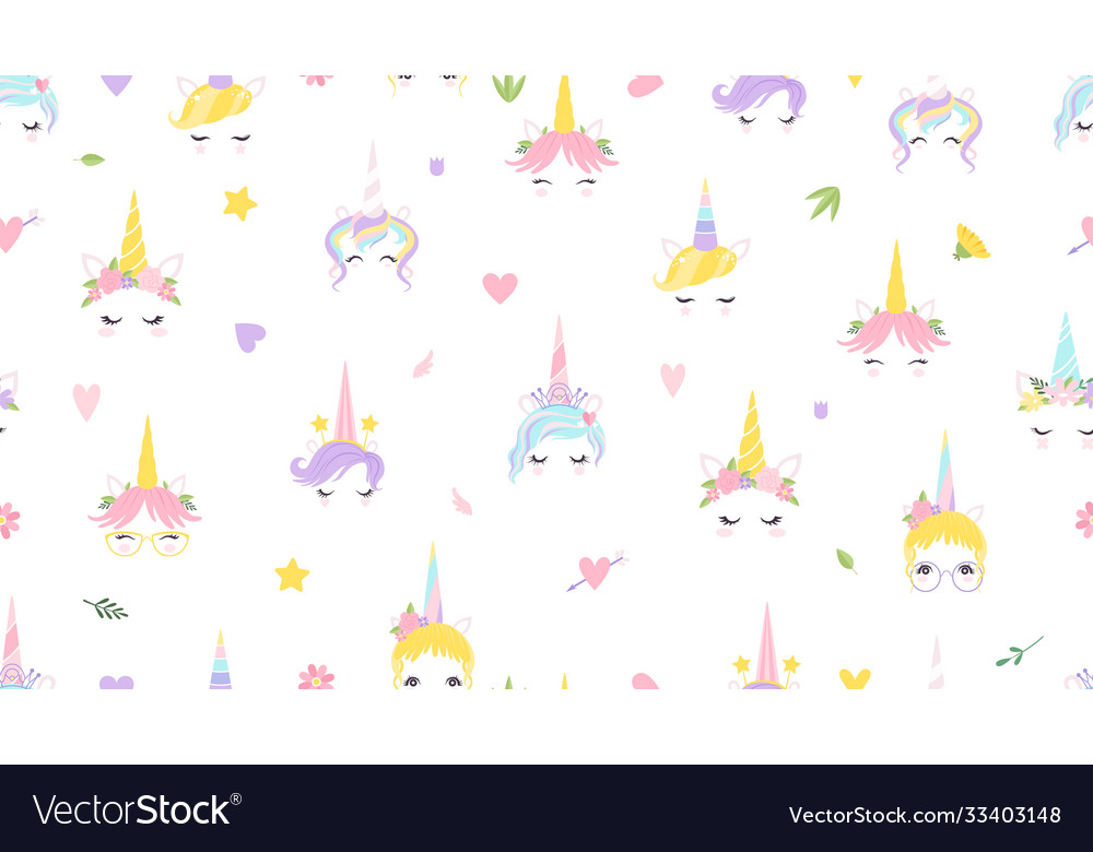 Unicorn faces pattern cute magic background