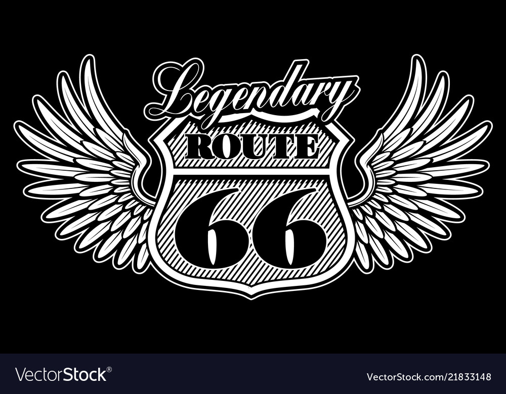 Vintage emblem of route 66 with wings