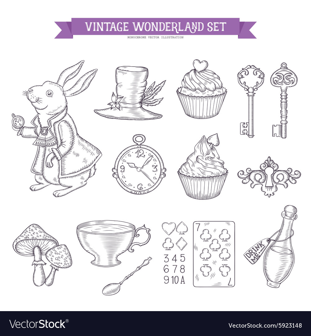 Wonderland hand drawn set of design elements