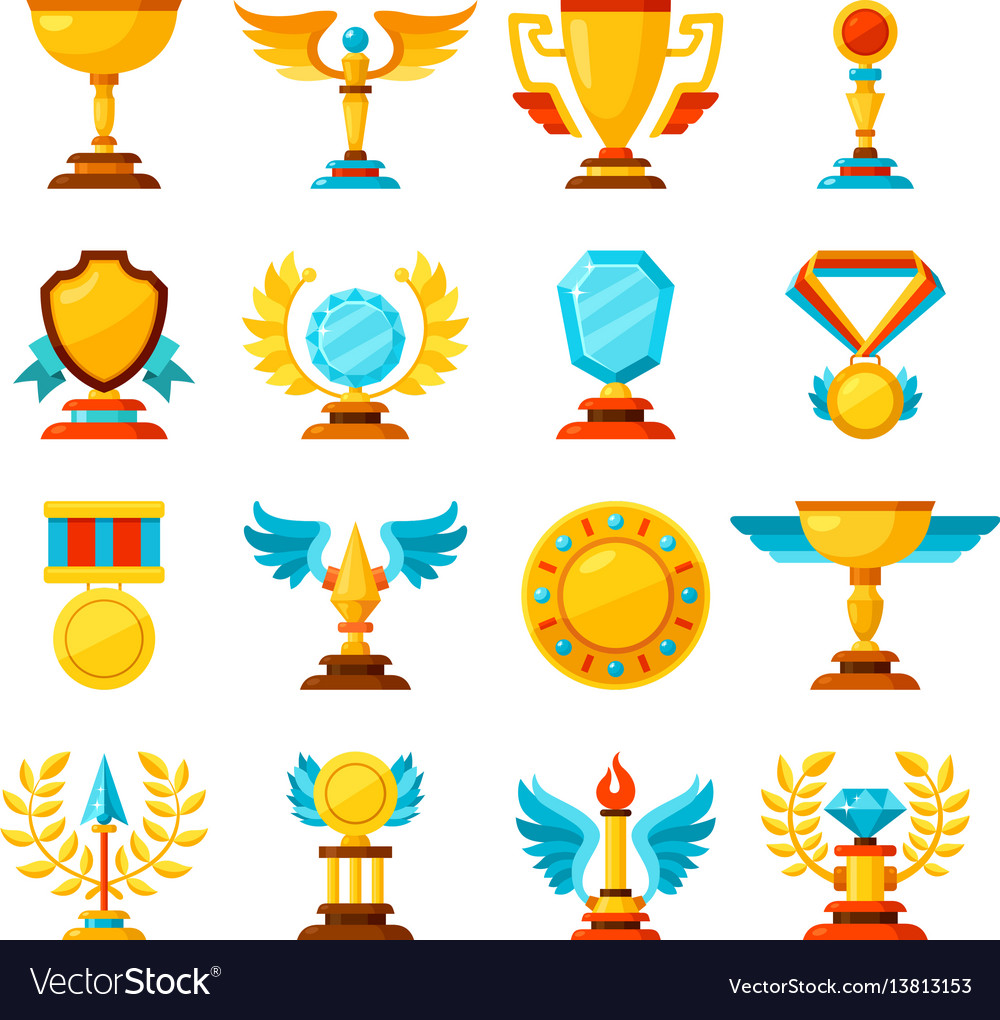 Color trophy and awards icons set on white