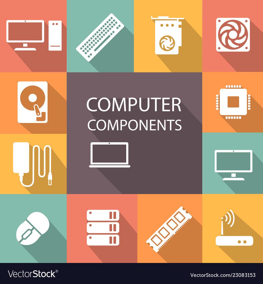 Computer components icon set
