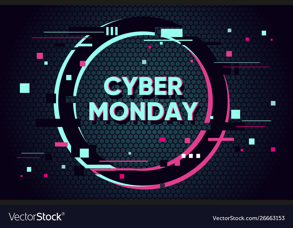 Cyber monday background with glitch effect promo