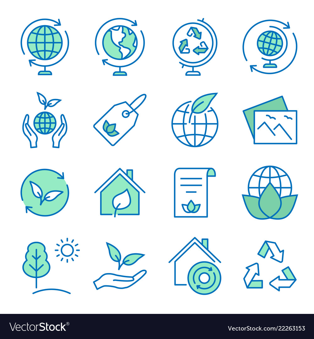Ecology flat line icon set